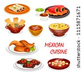 mexican cuisine dinner icon... | Shutterstock .eps vector #1115871671