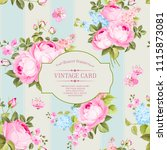 elegant rose pattern on blue... | Shutterstock .eps vector #1115873081