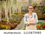 pretty young woman working with ... | Shutterstock . vector #1115875985