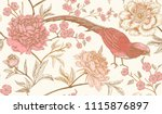 peonies and pheasants. floral... | Shutterstock .eps vector #1115876897