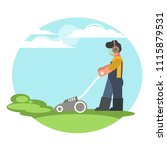 a man cuts the grass with a... | Shutterstock .eps vector #1115879531