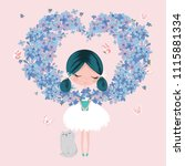 cute girl with flowers and... | Shutterstock .eps vector #1115881334