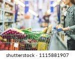 shopping at supermarket ...   Shutterstock . vector #1115881907