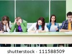 group of students takes the... | Shutterstock . vector #111588509