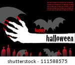 halloween white hand card with red graves - stock vector