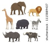african animal cartoon icon set ... | Shutterstock .eps vector #1115889437