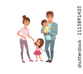 family couple with two kids ... | Shutterstock .eps vector #1115891435