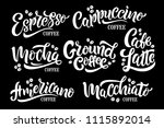 7 coffee quotes. vector text.... | Shutterstock .eps vector #1115892014