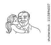 kid girl kisses her grandfather ... | Shutterstock .eps vector #1115896037
