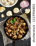 delicious beef stroganoff with... | Shutterstock . vector #1115906801