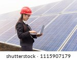 a female business man works in... | Shutterstock . vector #1115907179