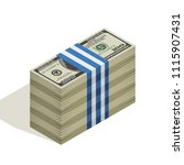 many packs of hundred dollar... | Shutterstock .eps vector #1115907431