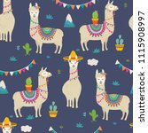 cute cartoon llama alpaca... | Shutterstock .eps vector #1115908997