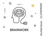 brainwork colored line icon | Shutterstock .eps vector #1115909009