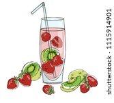 vector contour color strawberry ... | Shutterstock .eps vector #1115914901