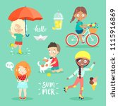 summer kids set  riding bicycle ... | Shutterstock .eps vector #1115916869