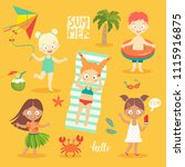summer kids set  swimming ... | Shutterstock .eps vector #1115916875
