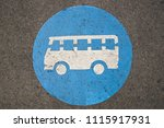 blue bus sign on the floor   Shutterstock . vector #1115917931