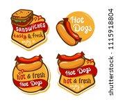 hotdog sandwich emblem design... | Shutterstock .eps vector #1115918804