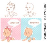 baby shower set. baby girl and... | Shutterstock .eps vector #1115923589