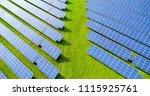 solar panels in aerial view | Shutterstock . vector #1115925761