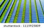 solar panels in aerial view | Shutterstock . vector #1115925809