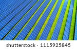 solar panels in aerial view | Shutterstock . vector #1115925845
