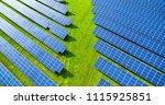 solar panels in aerial view | Shutterstock . vector #1115925851