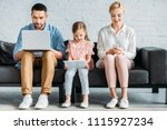 family with one child sitting... | Shutterstock . vector #1115927234