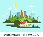 flat design vector island with... | Shutterstock .eps vector #1115952677