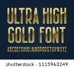 ultra high gold font. isolated... | Shutterstock .eps vector #1115963249