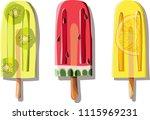 three bright colorful delicious ... | Shutterstock .eps vector #1115969231