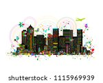 colorful metropolis  abstract... | Shutterstock .eps vector #1115969939