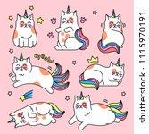 cat unicorn set. pretty... | Shutterstock .eps vector #1115970191