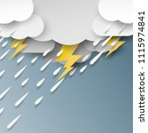 rain cloud and thunderbolt on... | Shutterstock .eps vector #1115974841