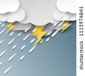 rain cloud and thunderbolt on... | Shutterstock .eps vector #1115974841