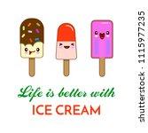cartoon ice cream illustration. ... | Shutterstock .eps vector #1115977235