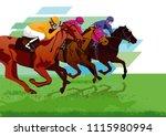 jockeys with racehorses on the... | Shutterstock .eps vector #1115980994