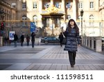 beautiful brunette tourist in... | Shutterstock . vector #111598511