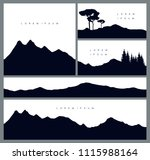 Set Of Mountains Silhouette...