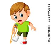 vector illustration of boy with ... | Shutterstock .eps vector #1115992961