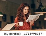 portrait of woman with cup of... | Shutterstock . vector #1115998157