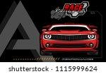racing car logo red car on... | Shutterstock .eps vector #1115999624