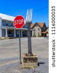Small photo of Centerport, PA, USA - June 14, 2018: An actual large fork is on display at the main intersection in Centerport, Berks County, PA