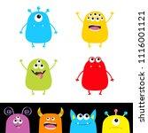 colorful monster silhouette set.... | Shutterstock .eps vector #1116001121