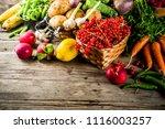 fresh summer fruit  berry and... | Shutterstock . vector #1116003257