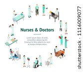 nurses attending patients... | Shutterstock .eps vector #1116009077