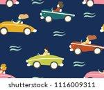 car seamless pattern. cartoon... | Shutterstock .eps vector #1116009311