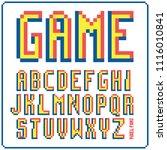 game font 8 bit retro typeface... | Shutterstock .eps vector #1116010841