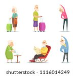 elderly couples in various... | Shutterstock .eps vector #1116014249